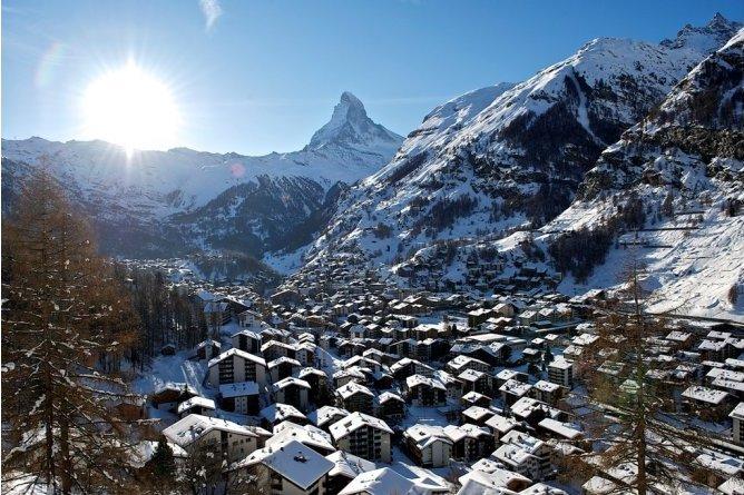 Zermatt Town Shot From Above