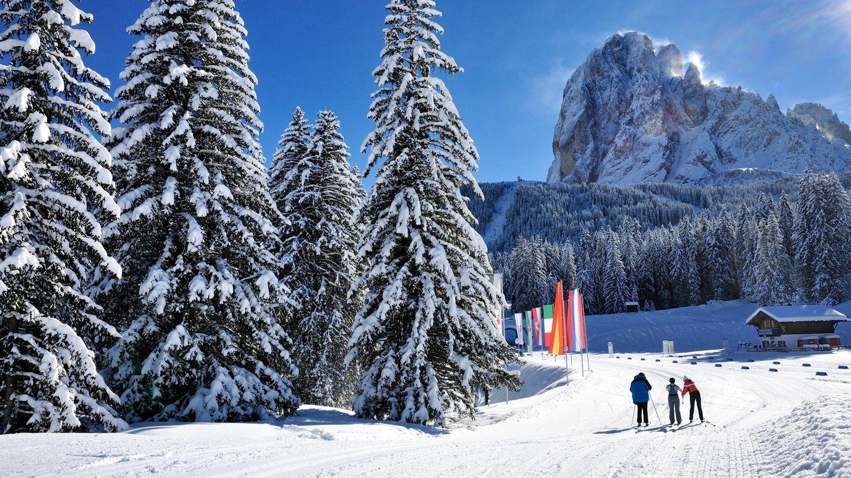 cross-country skiing, selva val gardena, cross-country ski trails