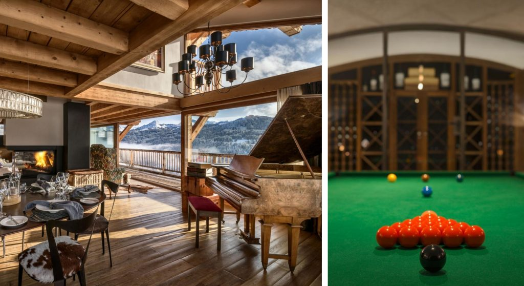 Grand-piano-and-snooker-table-at-chalet-grande-corniche-les-gets