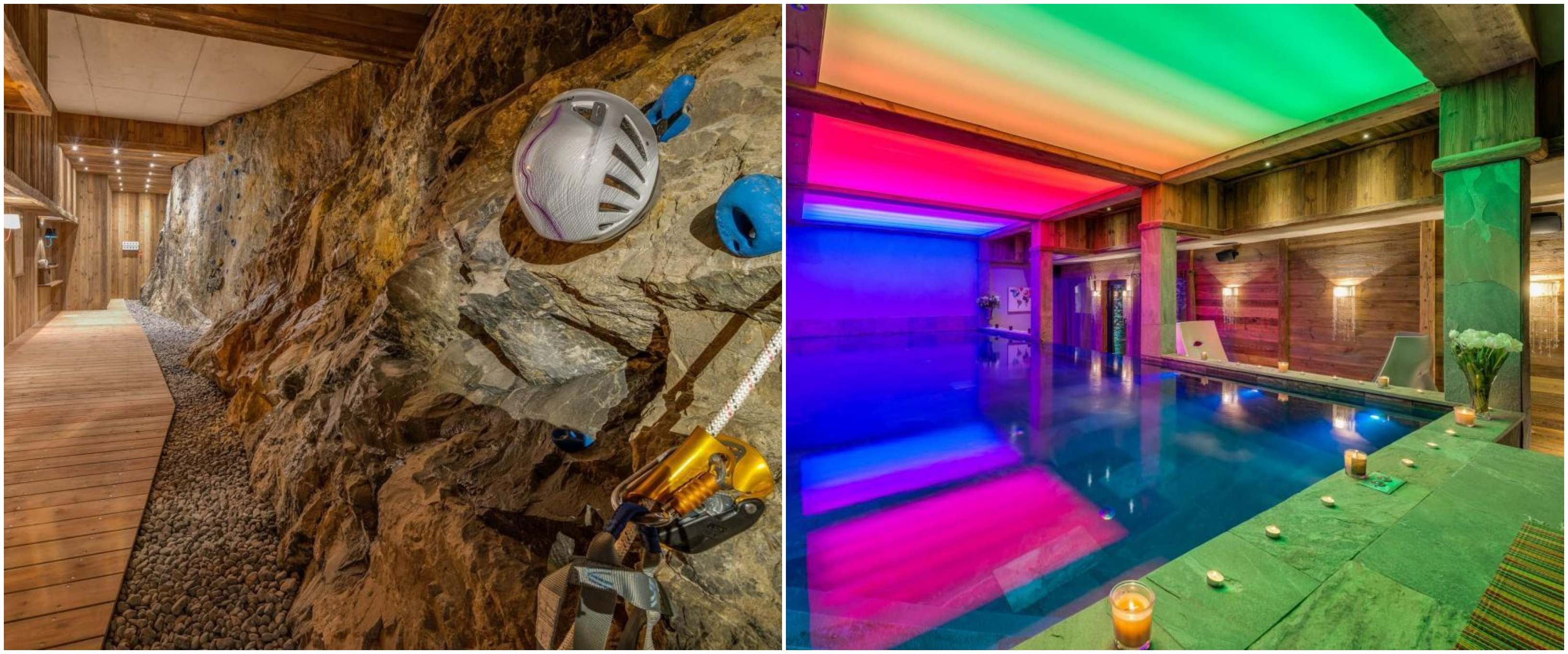 private pool, luxury chalet with pool, rock climbing wall, luxury chalet val d'isere