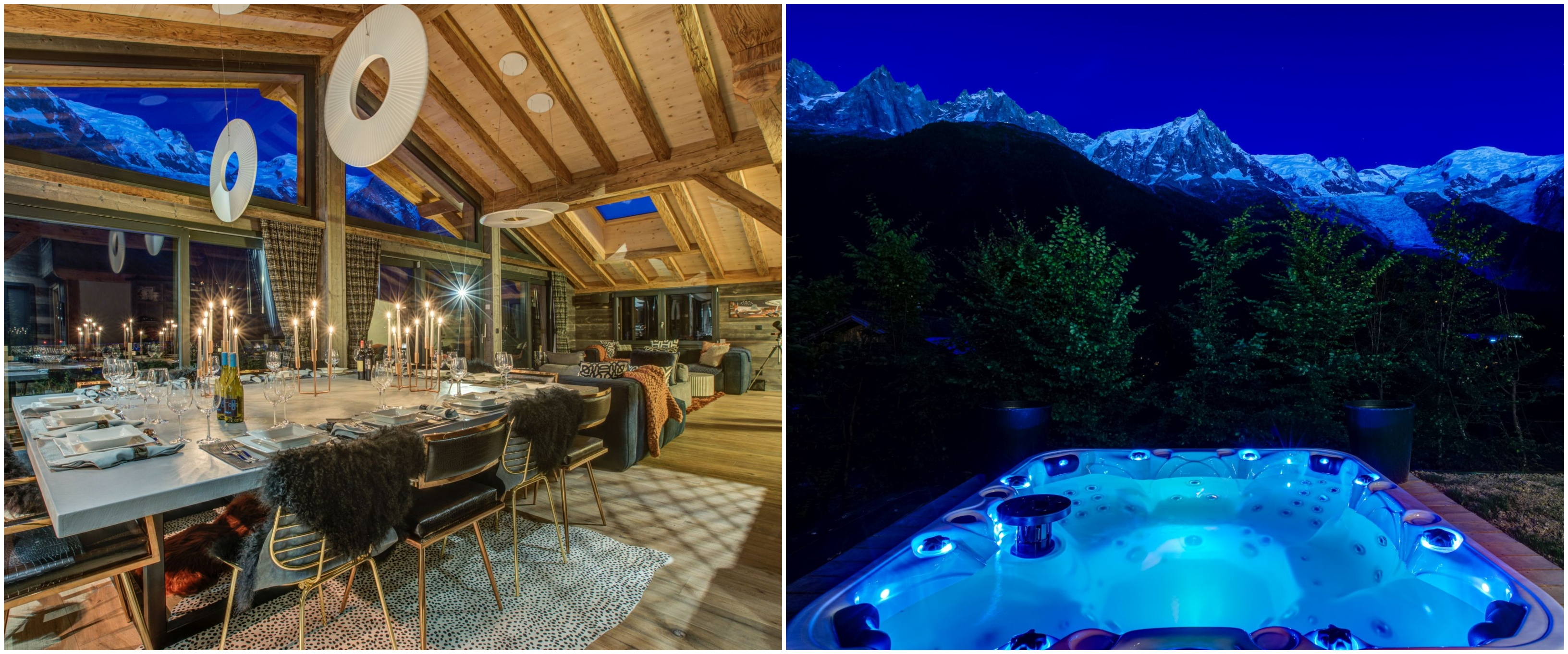 Hot tub and dining room at Chalet Rock and Roll, Chamonix