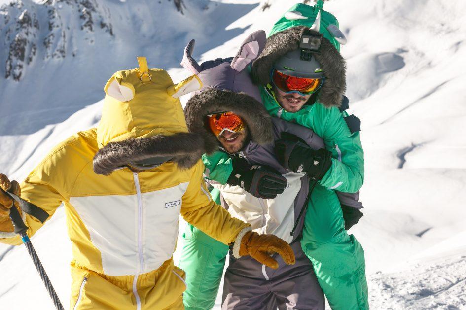 Founders of Dinoski, a fun kids ski wear brand