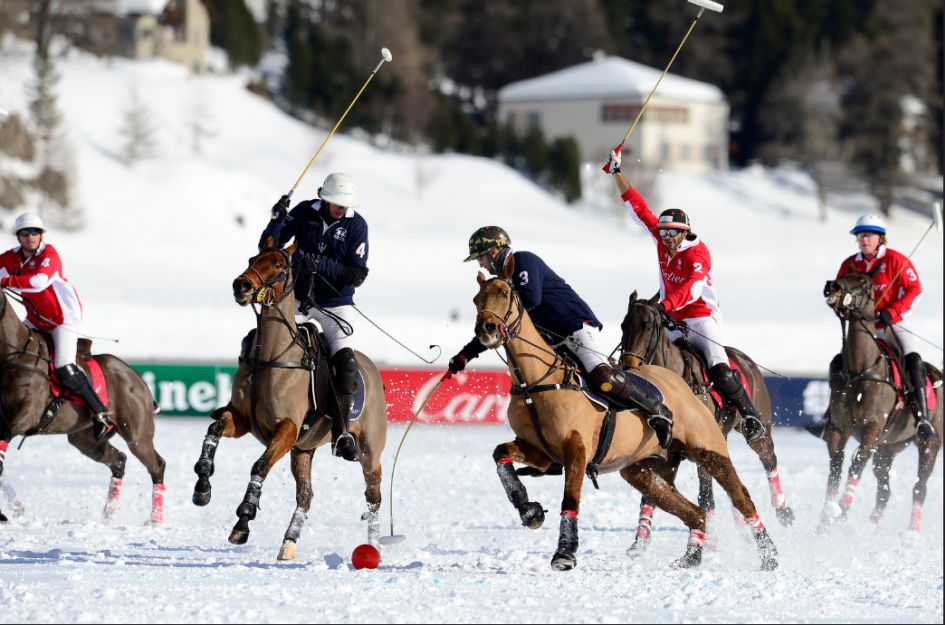 Snow Polo winter sporting event in the Alps