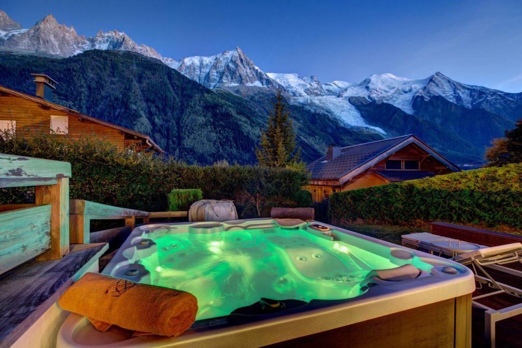 Chamonix luxury chalet, Folie Douce Chamonix, hot tub, Mont Blanc