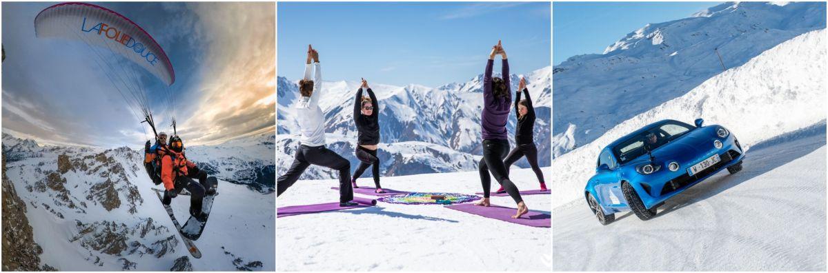 paragliding in Val Thorens, Val Thorens activities, snow activities in Val Thorens, paragliding Three Valleys, yoga in the Alps, yoga in Meribel. Meribel yoga, ice driving in the Alps, ice driving circuit in the Alps, ice driving in Val Thorens