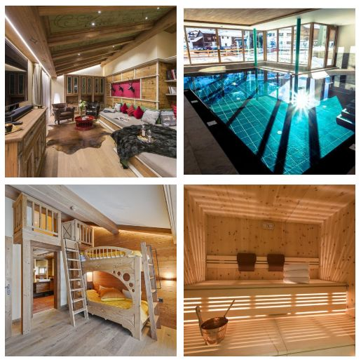 luxury chalet, children's bunk room, spa, family ski holiday