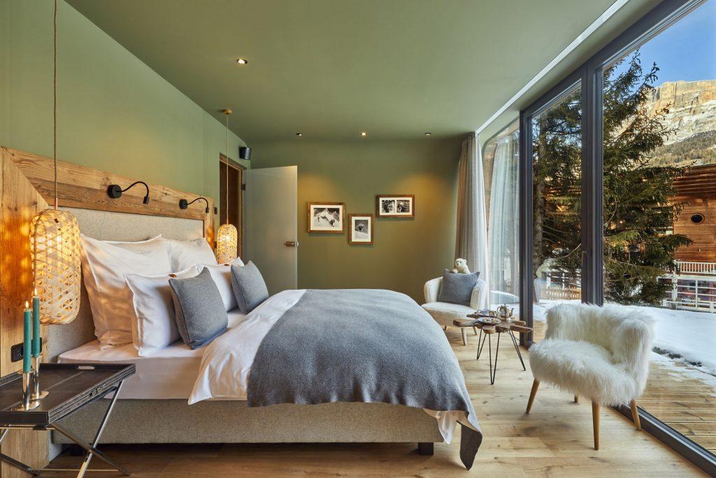 luxury bedroom, romantic ski holiday beautiful views