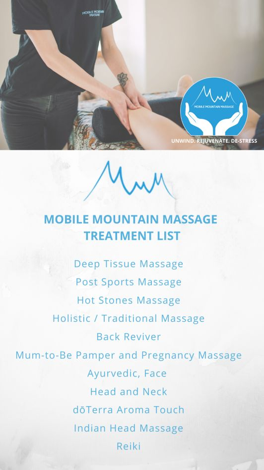 Mobile Mountain Massage, Massage Treatment List