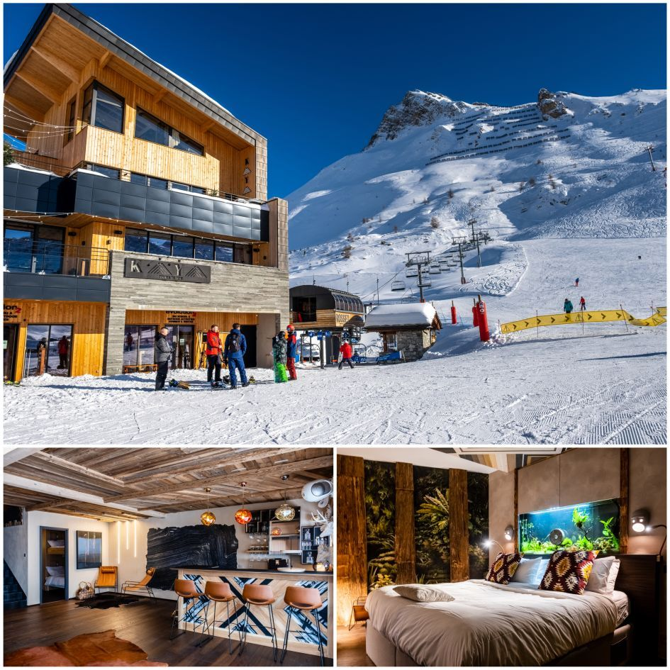 luxury ski chalet with hot tub, Chalet Kaya, Tignes best catered ski chalets, ski-in ski-out, luxury ski in ski out chalets, chalets with high ceilings