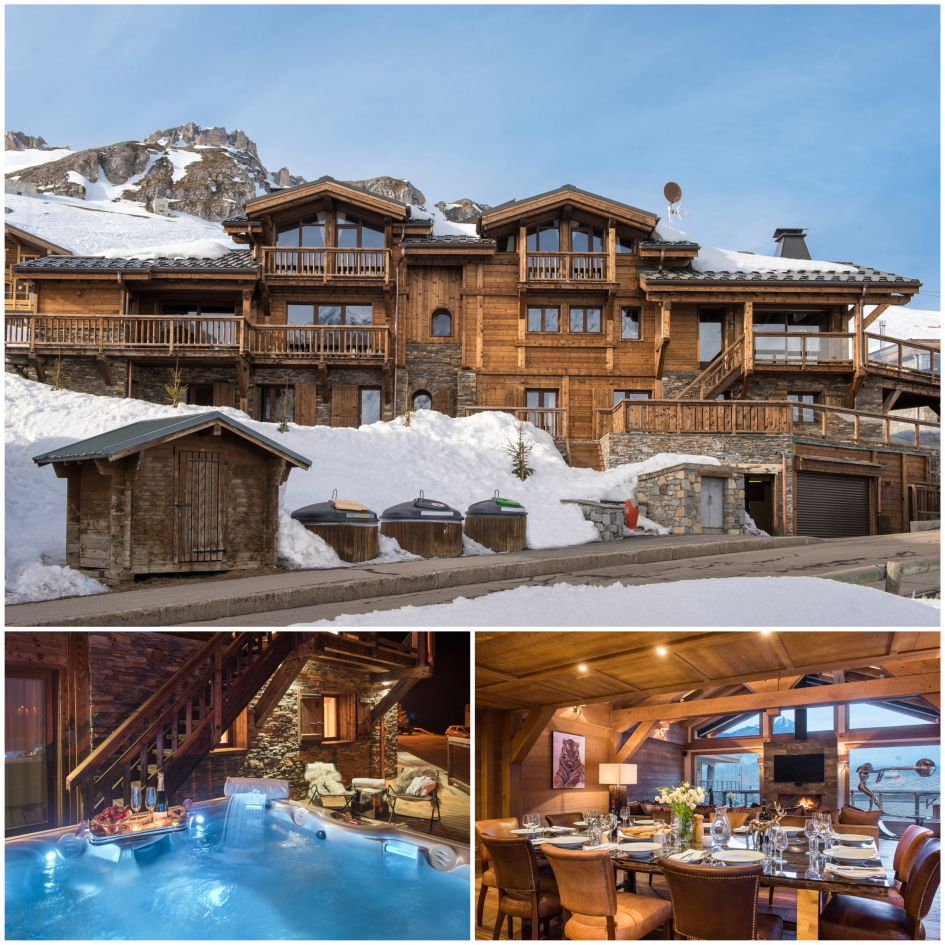 Chalet Opale Ambre, Tignes best catered ski chalets, luxury chalets with outdoor hot tubs, luxury chalet with hot tub