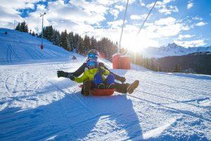 Sledging family ski trip Courchevel, Sledge run, Family Ski Holiday, Courchevel Ski Resort