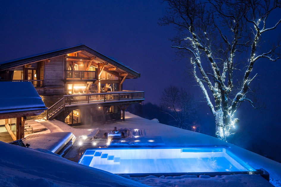 luxury chalet, swimming pool, pool with a view, Les Gets