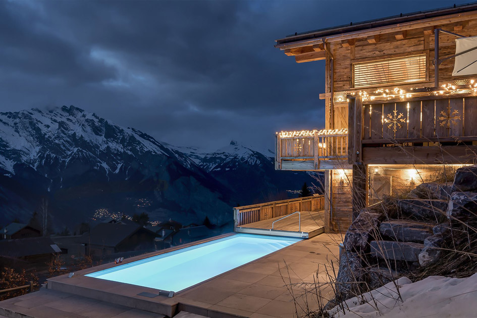 luxury chalet, swimming pool, pool with a view, la Tzoumaz, Verbier