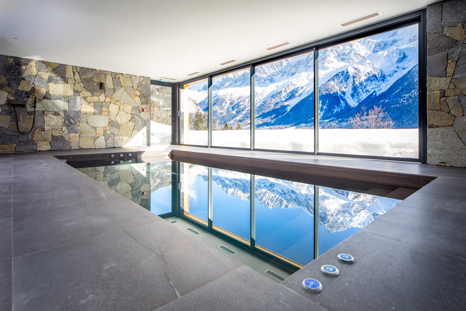 luxury chalet, swimming pool, pool with a view, Chamonix