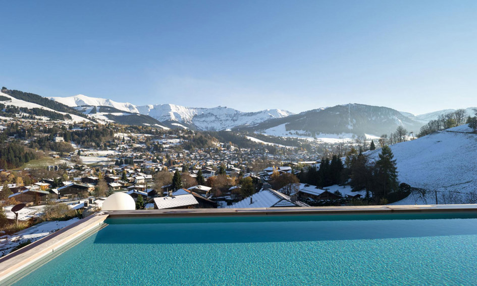 luxury chalet, swimming pool, pool with a view, Megeve