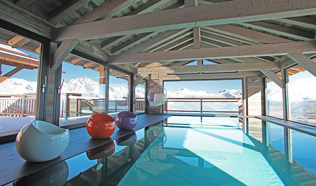 luxury chalet, swimming pool, pool with a view, nendaz