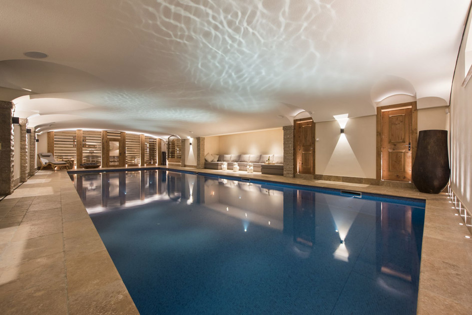 Chalet Chouqui swimming pool, chalet with swimming pool in Verbier, chalet with pool in Verbier, chalet swimming pools Verbier, largest swimming pool in Verbier