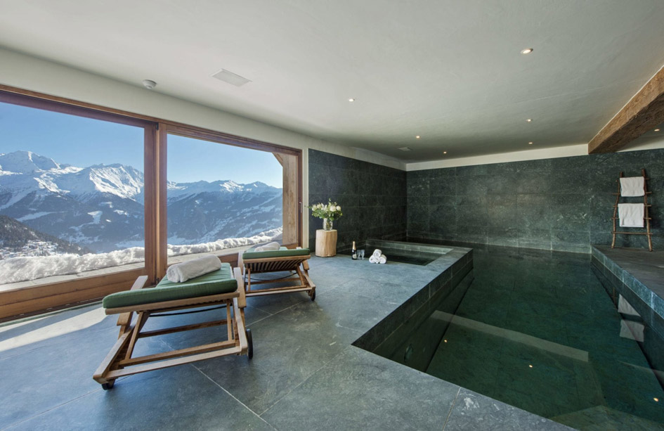 Chalet Nyumba swimming pool, chalet with swimming pool in Verbier, chalet with pool in Verbier, chalet swimming pools Verbier,