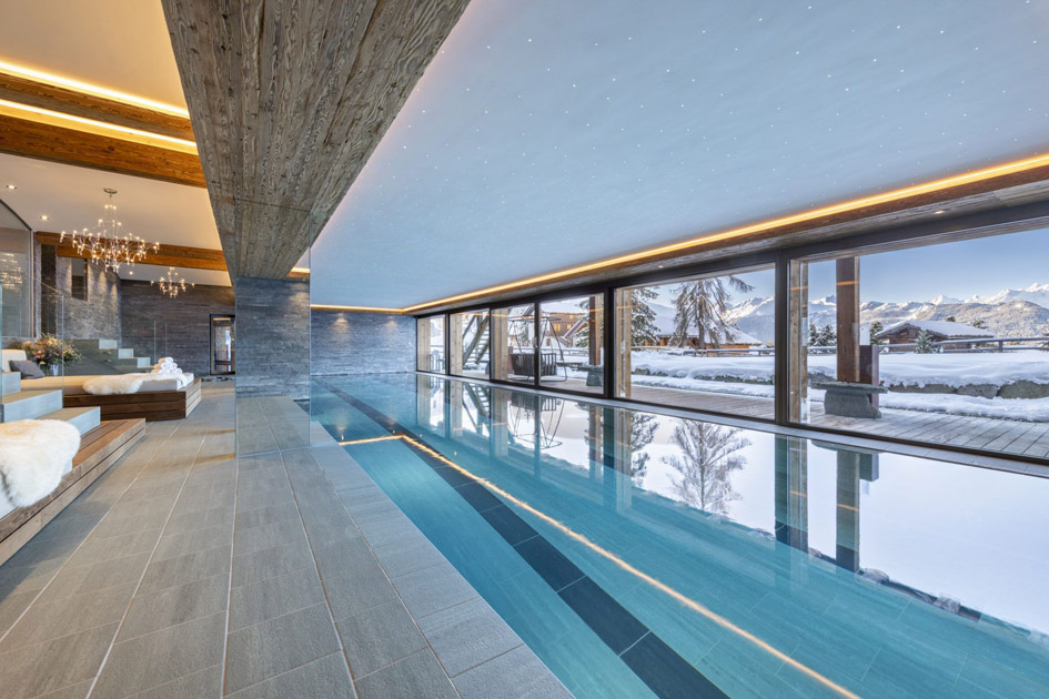 Chalet Marmottiere swimming pool, chalet with swimming pool in Verbier, chalet with pool in Verbier, chalet swimming pools Verbier, largest swimming pool in Verbier