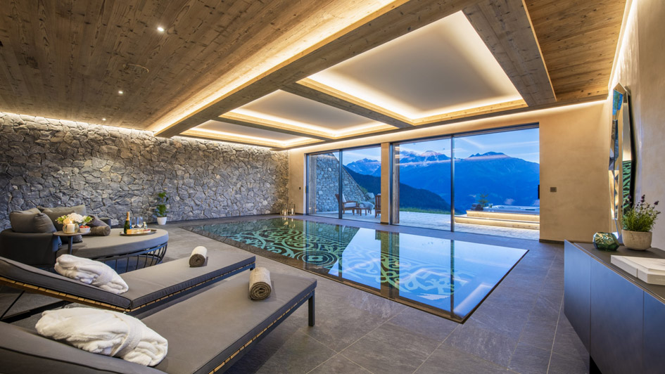 Chalet Calima swimming pool, chalet with swimming pool in Verbier, chalet with pool in Verbier, chalet swimming pools Verbier