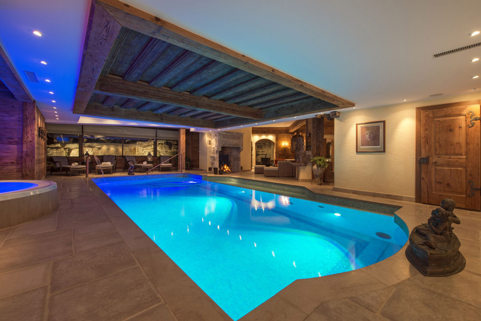 Chalet Makini swimming pool, chalet with swimming pool in Verbier, chalet with pool in Verbier, chalet swimming pools Verbier