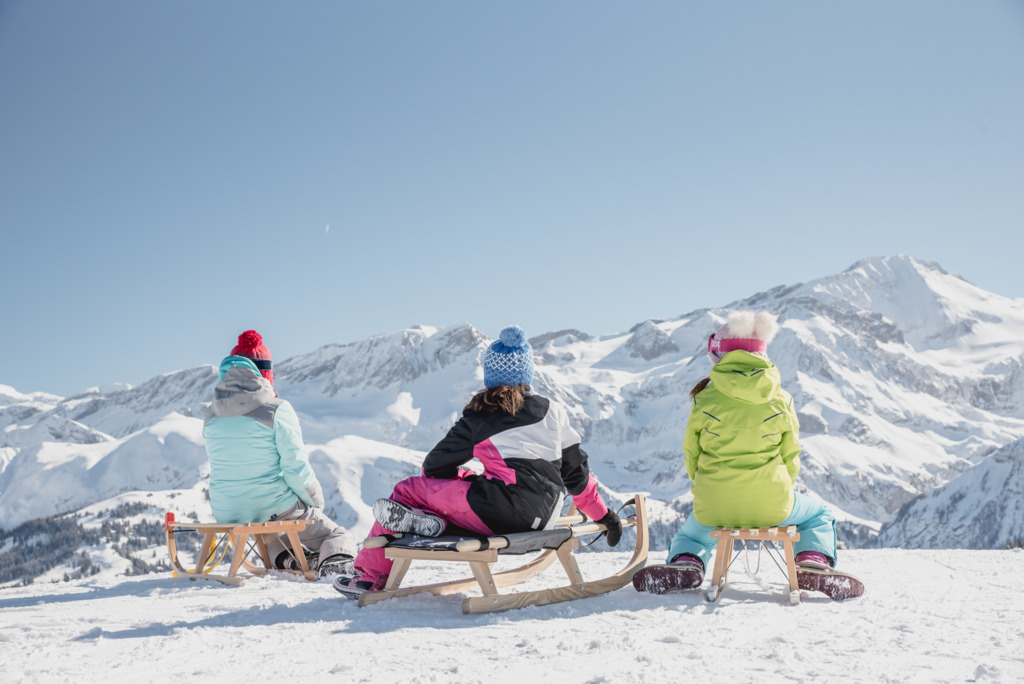 sledging in the alps, sledging in the mountains, snow sledging, sledging with the kids, mountain holidays, luxury mountain holidays