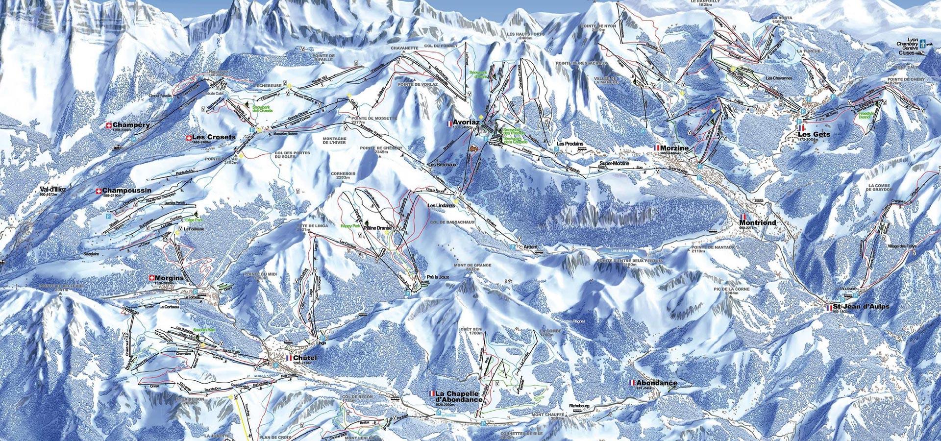 Skiing in the Portes du Soleil. POrtes du Soleil piste map