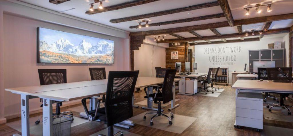 work in the Alps, communal office in Verbier, Verbier coworking space, work from home in the mountains, office space in Verbier, business lounge Verbier
