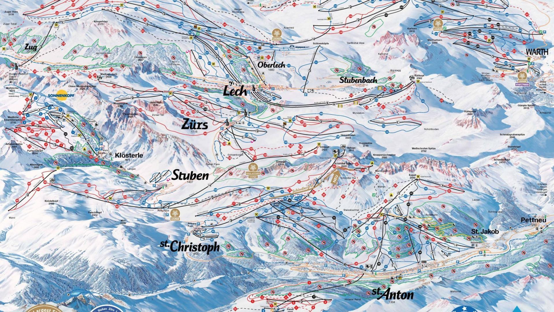 St Anton & Lech Piste map, Alberg ski region piste map