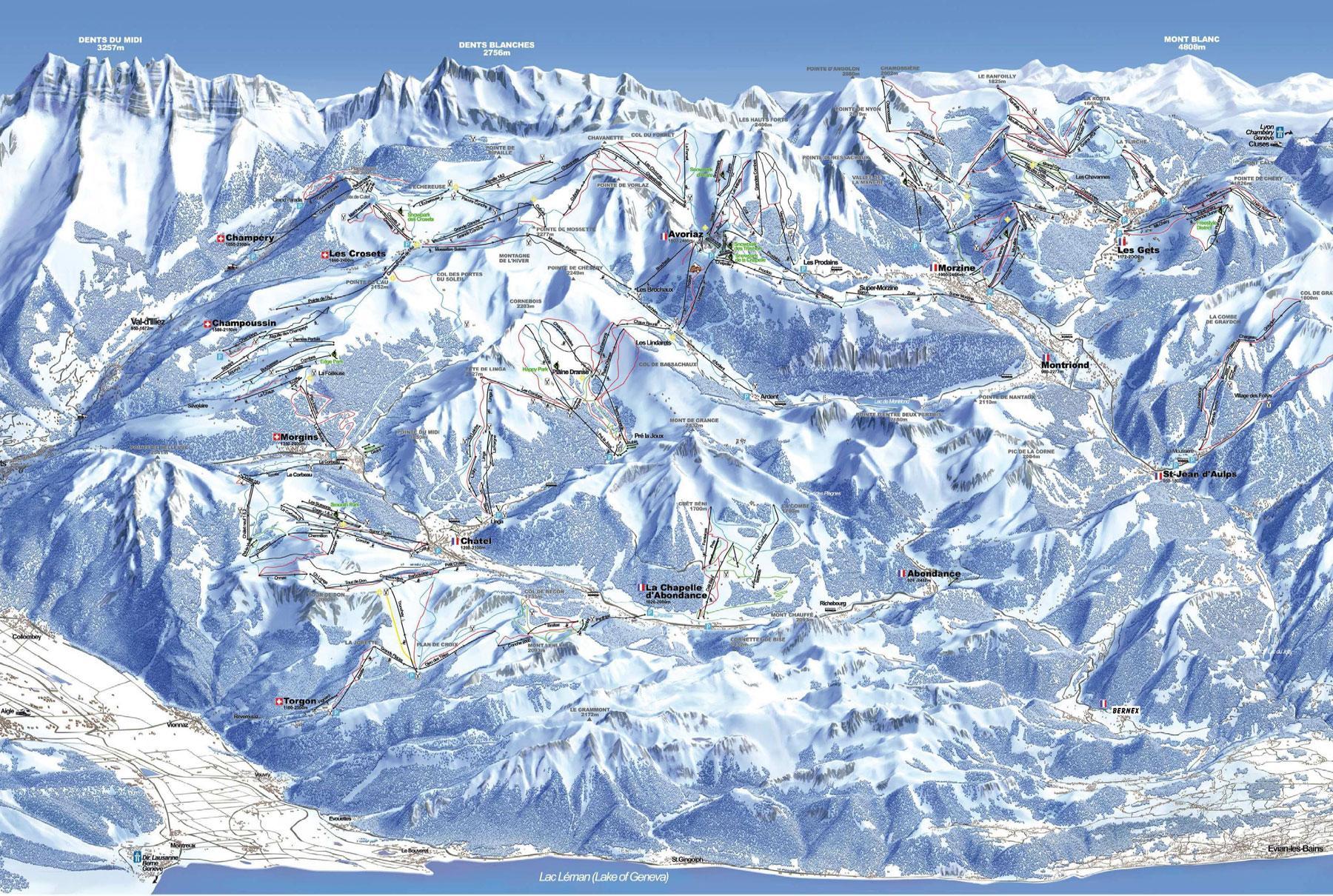 skiing in Chatel, Chatel ski area, Portes du Soleil resorts, Chatel ski holiday, Chatel piste map
